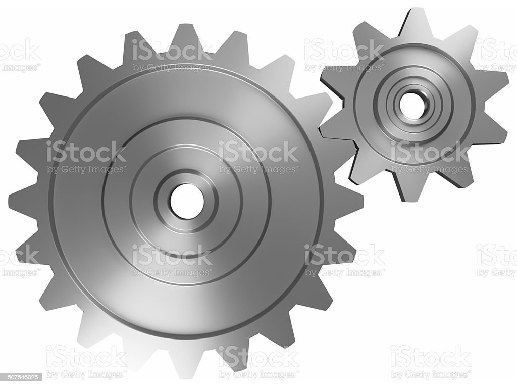 Two interlocking cogwheels on front view stock photo