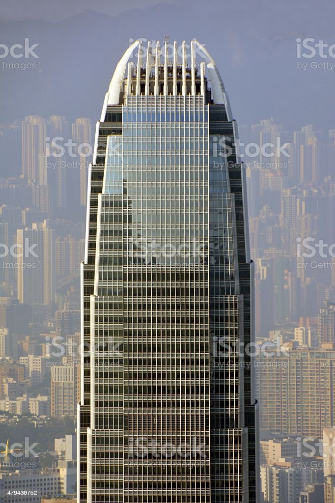 Two International Finance Center and Hong Kong cityscape stock photo