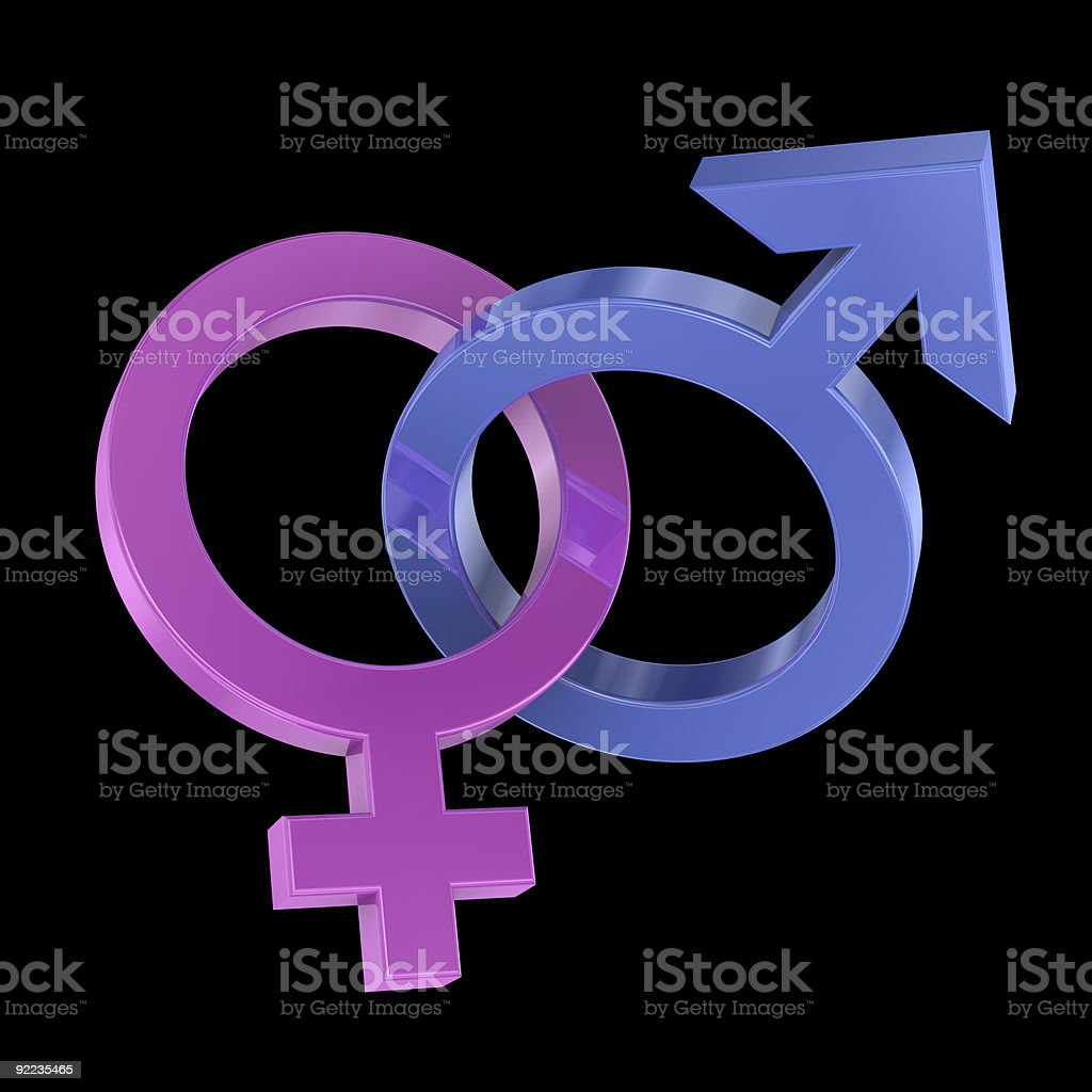 Two intertwined gender symbols stock photo