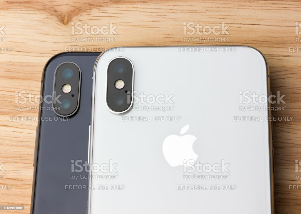 Rostovondon Russia Feb 2018 Two Iphone X Lies On A Wooden Table A