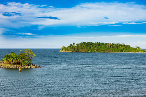 Two islands in front of the port of Puerto Limon - Costa Rica Two islands in front of the port of Puerto Limon - Costa Rica limoen stock pictures, royalty-free photos & images