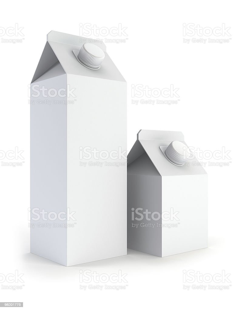 two isolated blank milk box royalty-free stock photo