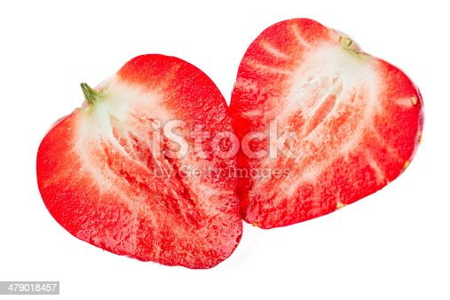104822052istockphoto Two Isolated Strawberries sliced cross section 479018457