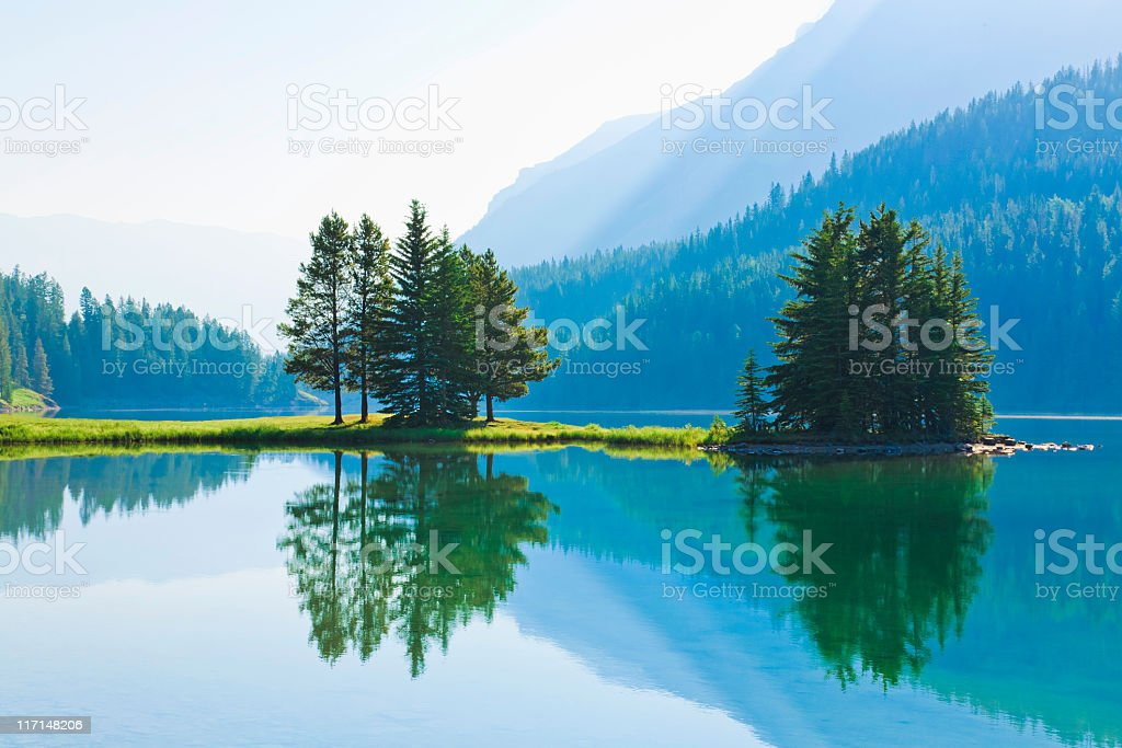 Two Jack Lake, morning light, reflections, Banff National Park, Canada stock photo