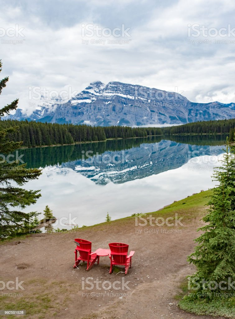 Two jack lake with  mirror reflections of mountain in the lake water in canadian rockies stock photo