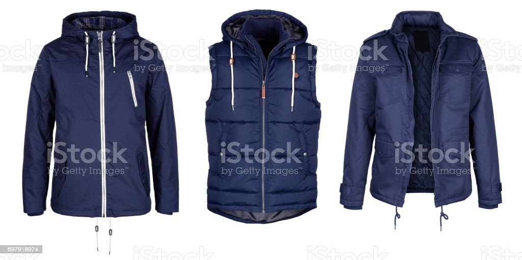 Two jackets and vest in dark blue color stock photo