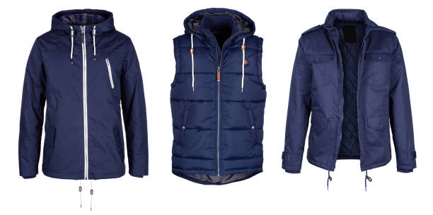 Two jackets and vest in dark blue color Two jackets and vest in dark blue color isolated on white background warm clothing stock pictures, royalty-free photos & images