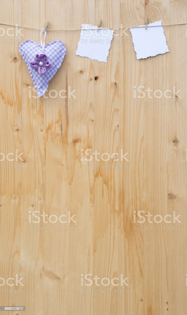 Two jagged note and a heart of fabric foto stock royalty-free