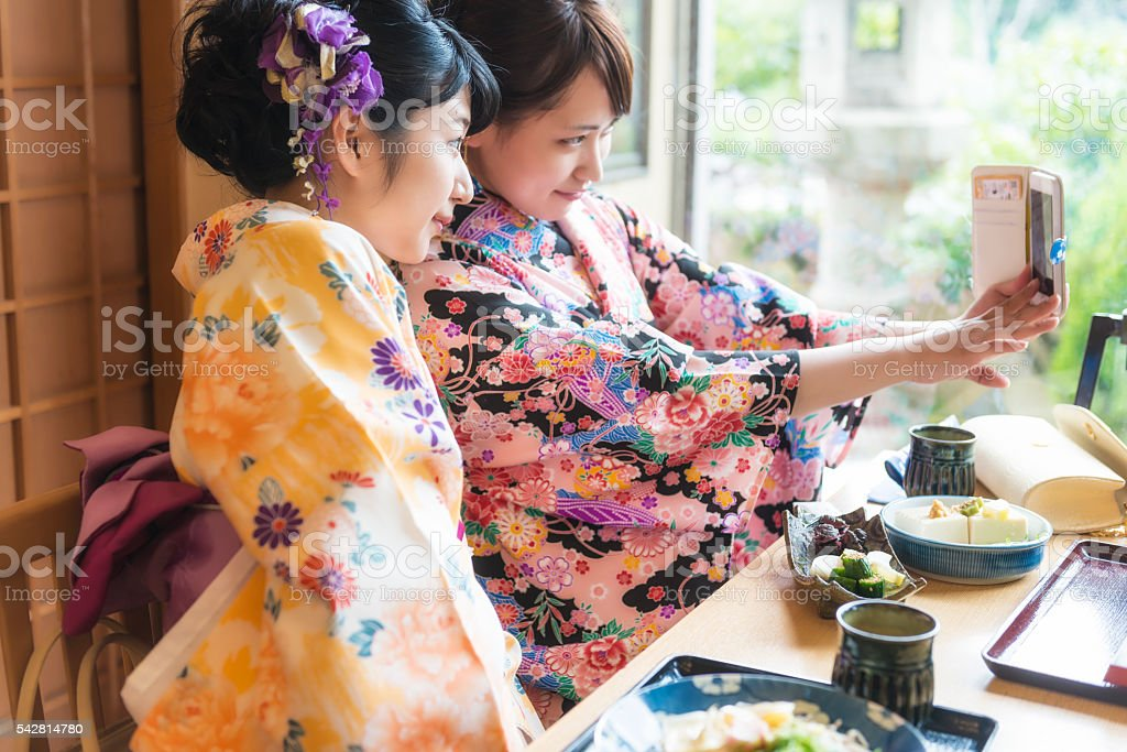 Two Japanese woman stock photo