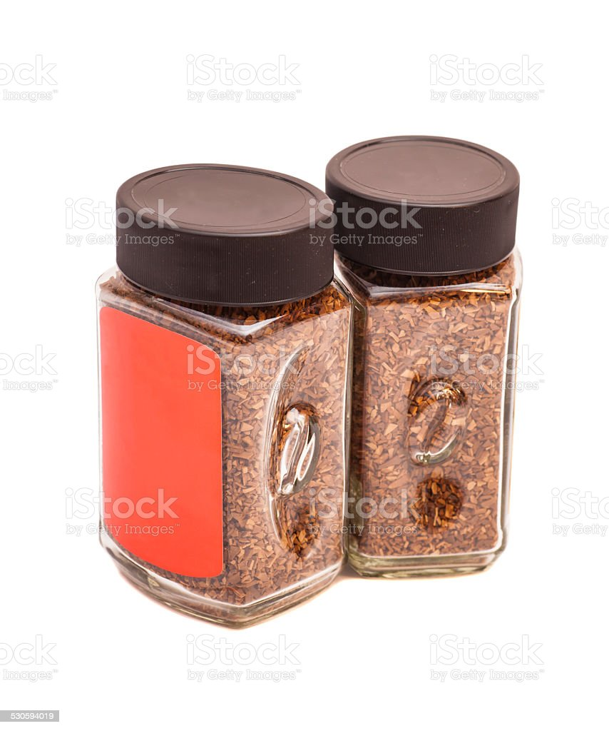Two jars of instant coffee isolated on white stock photo