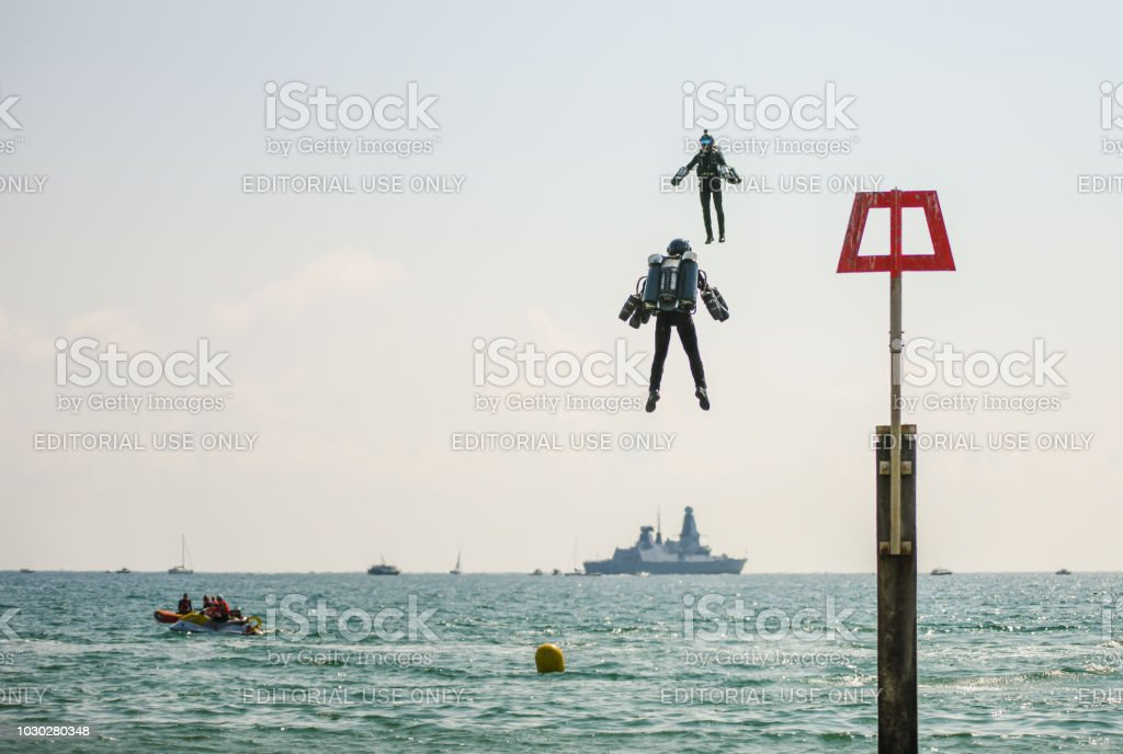 Two Jet Suits on display at the Bournemouth Air Festival stock photo