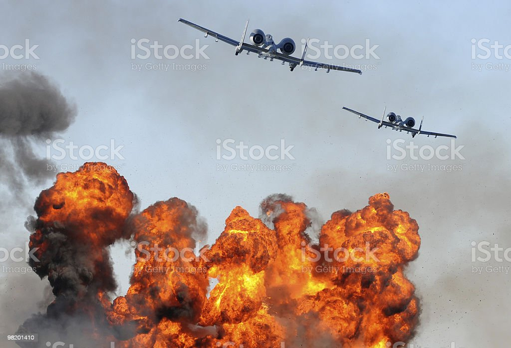Two jetfighter attacking stock photo