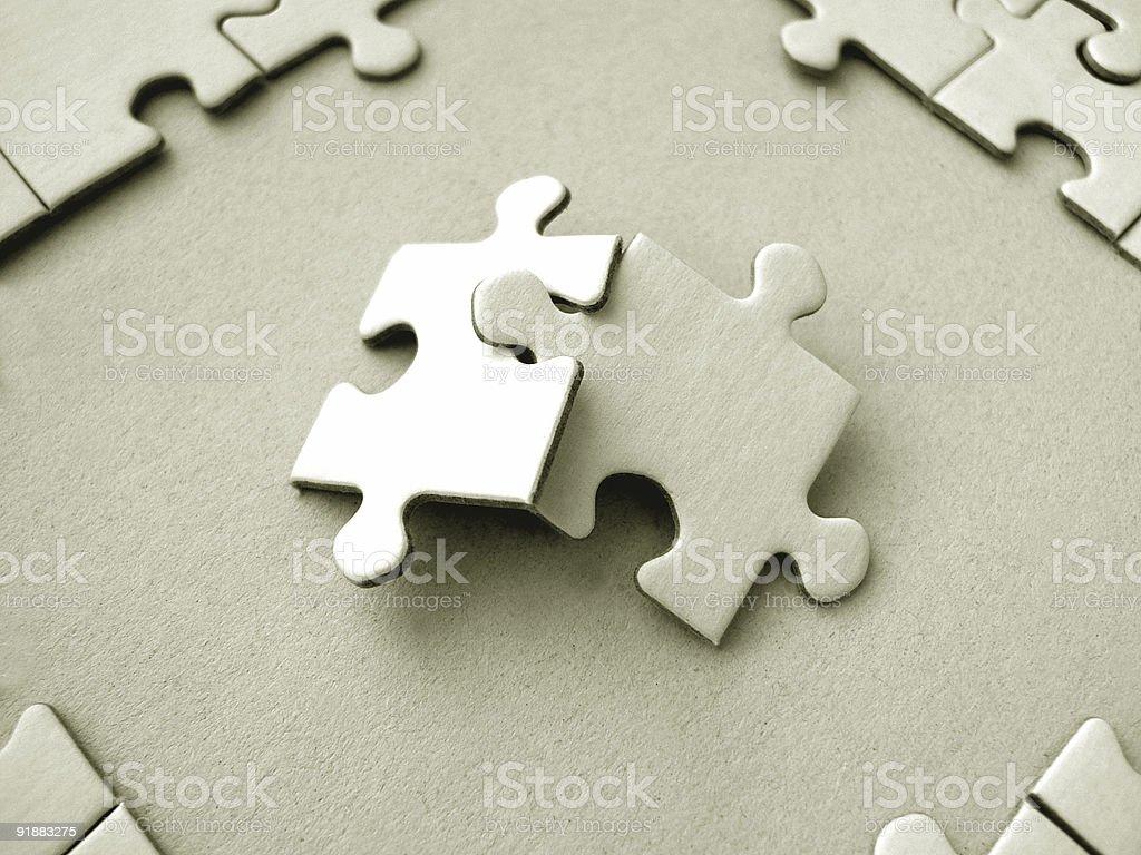 Two jigsaw piece royalty-free stock photo