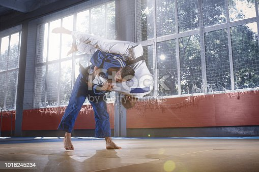 istock Two judo fighters showing technical skill while practicing martial arts in a fight club 1018245234