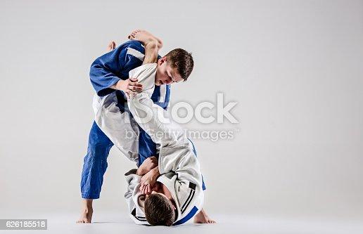 istock Two judokas fighters fighting men 626185518