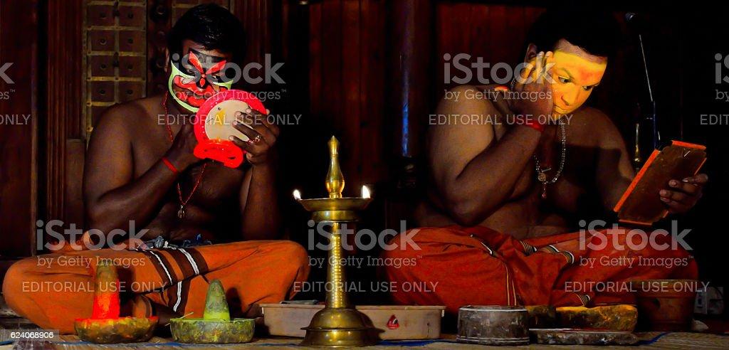 Two Kathakali performers stock photo