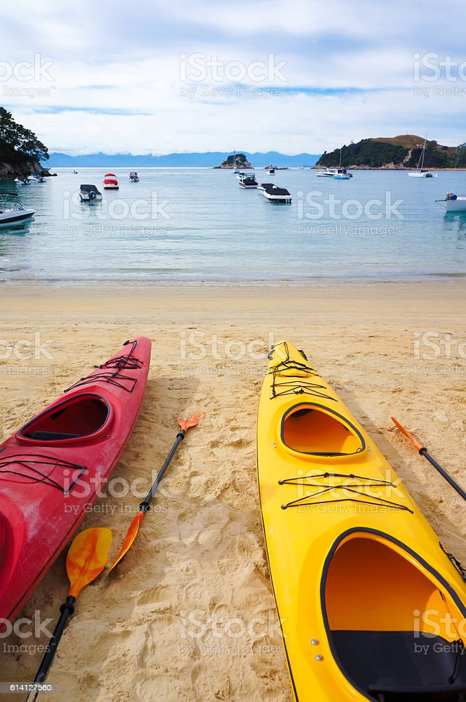 Two kayak boats, close up. Kaiteriteri beach. stock photo