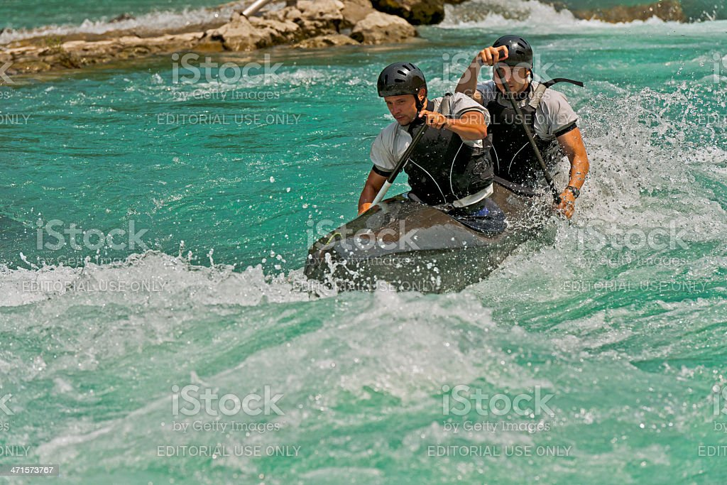 Two Kayakers on Soca River Rapids Slovenia Europe stock photo