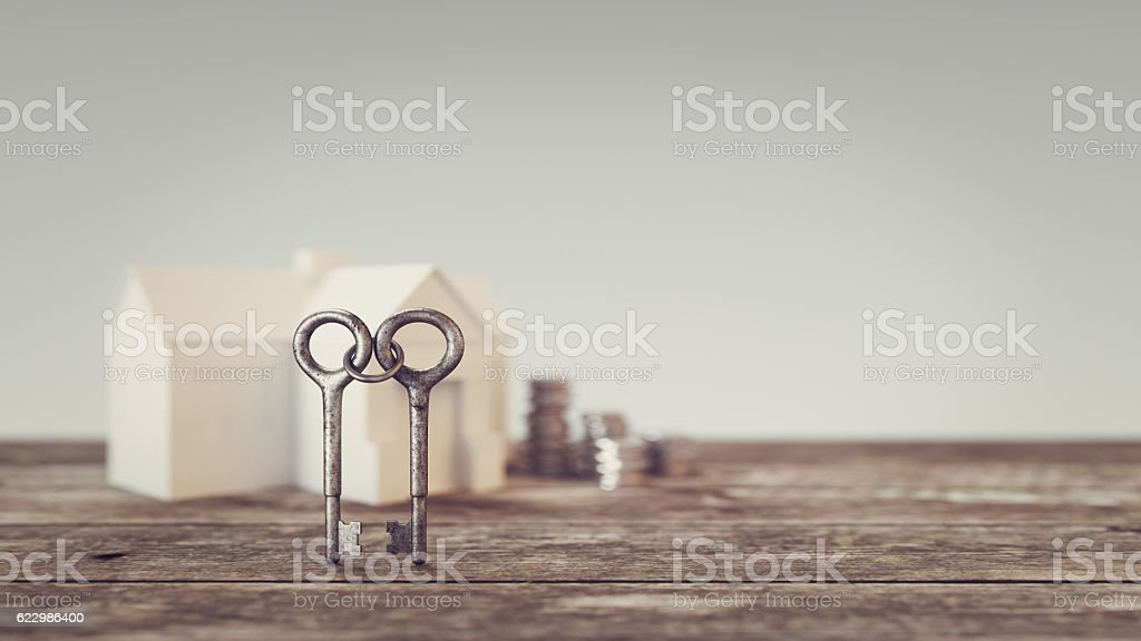 Two keys looped together Background and a pile of money, stock photo