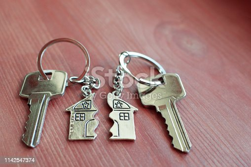 istock Two keys with splitted key rings with pendant in shape of house 1142547374
