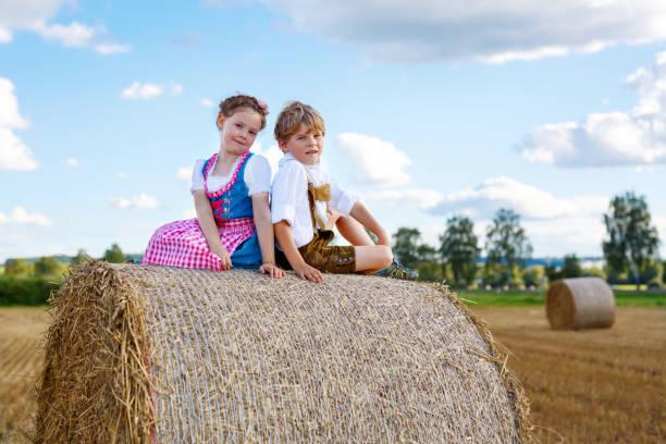 zwei kinder, jungen und mädchen in bayerischer tracht im weizenfeld - sommerfest kindergarten stock-fotos und bilder