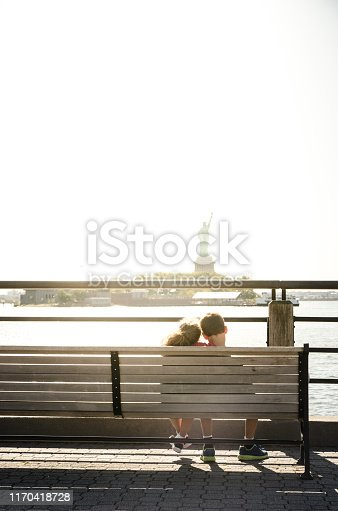 585604690 istock photo Two kids looking at Statue of Liberty 1170418728