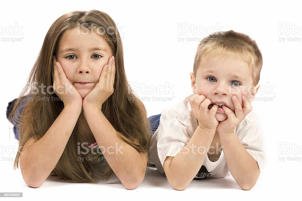 Two kids making desicion royalty free stockfoto