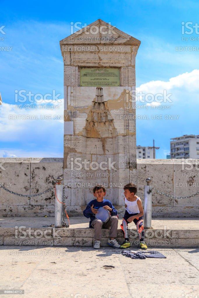 Two kids playing darbuka stock photo
