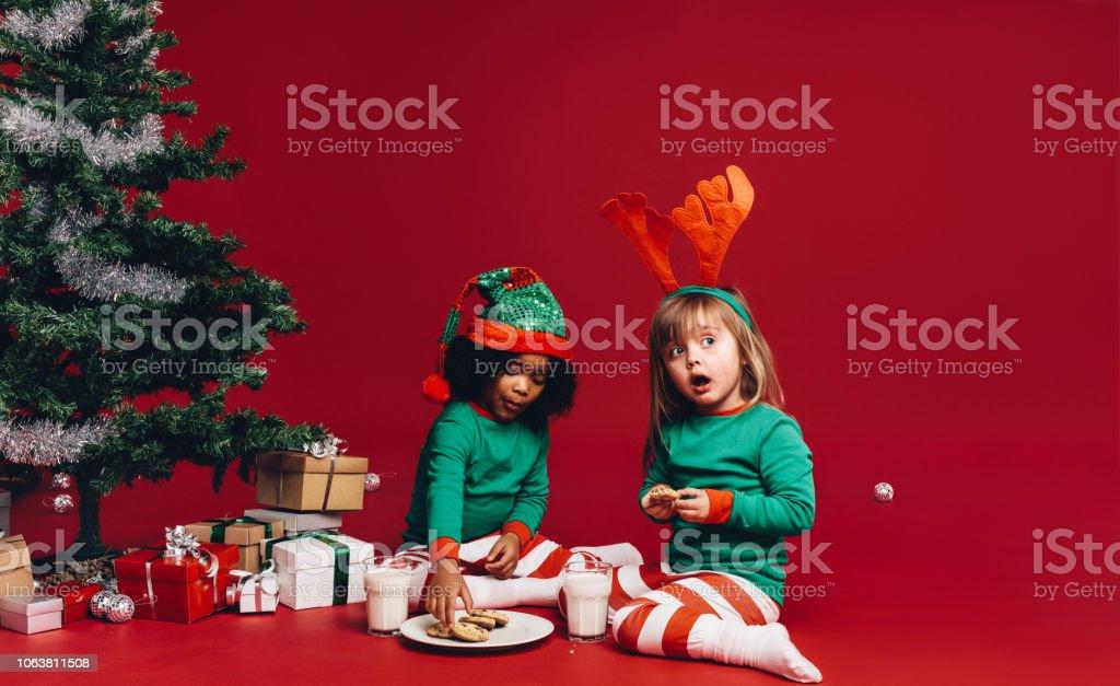 Kinder Weihnachtskekse.Zwei Kinder Weihnachtskekse Stockfoto Und Mehr Bilder Von Baum Istock