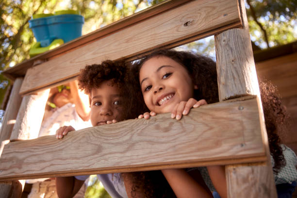 Two kids smiling at the camera on top of tree house stock photo