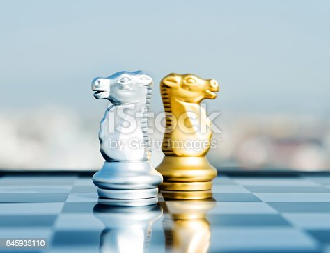 istock Two knight pieces standing on the board 845933110