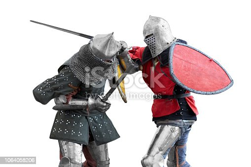 istock Two knights  compete in a tournament. 1064058206