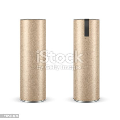 istock Two Kraft paper Snack Tubes TIN CAN Mockup with label, Packaging 920516094