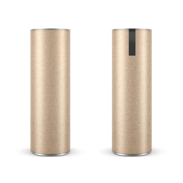두 크 래 프 트 레이블, 스낵 튜브 tin can 이랑 종이 포장 - 원기둥 뉴스 사진 이미지