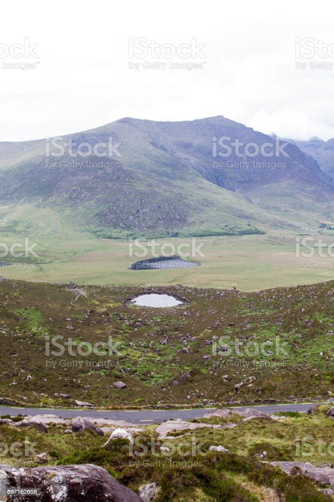 Two lakes and their mountains 3 stock photo