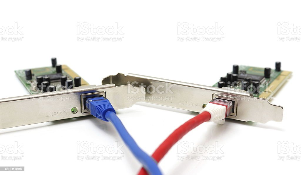 two LAN network cards  with cable stock photo