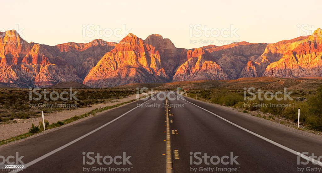 Two Lane Highway Red Rock Canyon Las Vegas USA stock photo