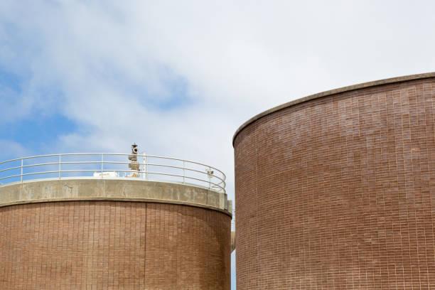 Two Large Cylindrical Storage Tanks stock photo