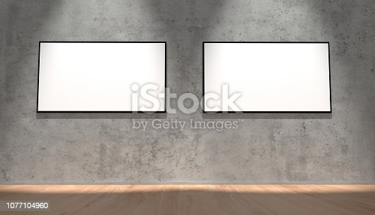 istock Two large displays on the wall 1077104960