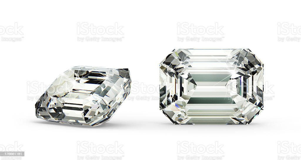 Two large emerald cut diamonds stock photo