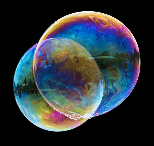 Two large soap bubbles stock photo