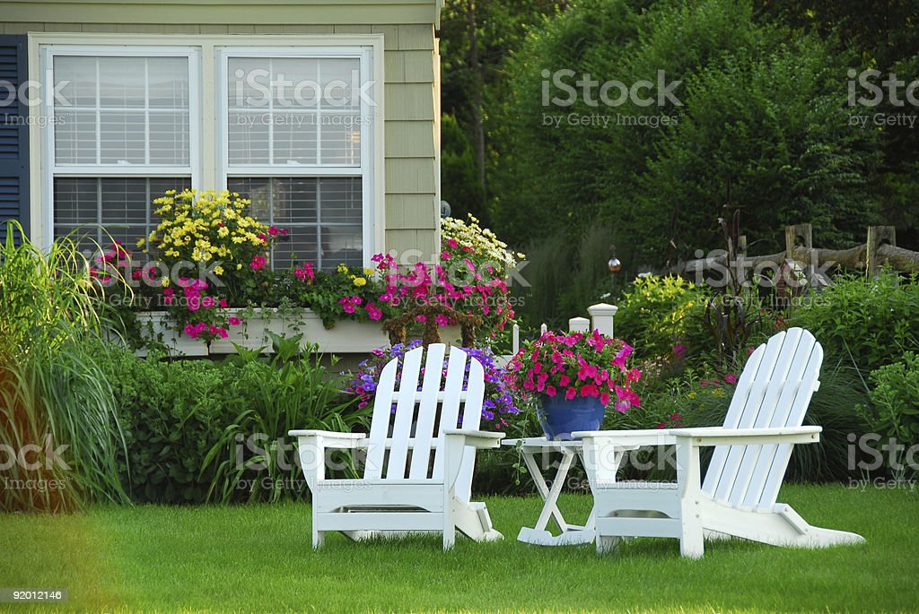 Two lawn chairs stock photo