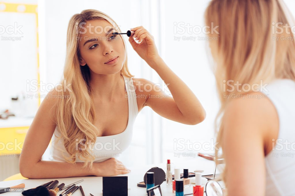 Two layers of mascara. stock photo