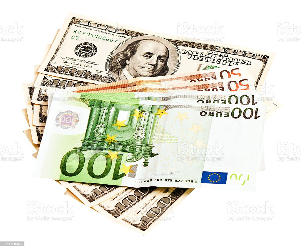 Two leading hard currencies - US Dollar and Euro royalty-free stock photo