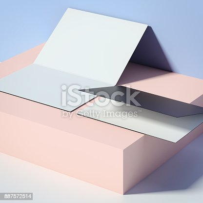 887572514istockphoto Two leaflets on the box. 3d rendering 887572514