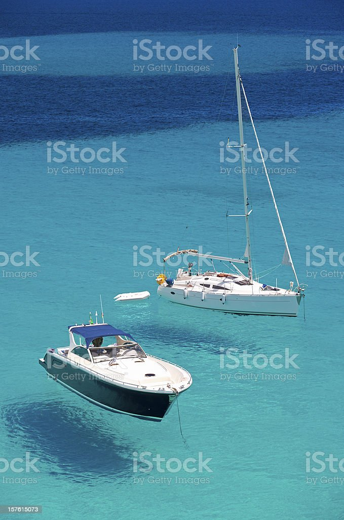 two leisure boats in a lagoon stock photo