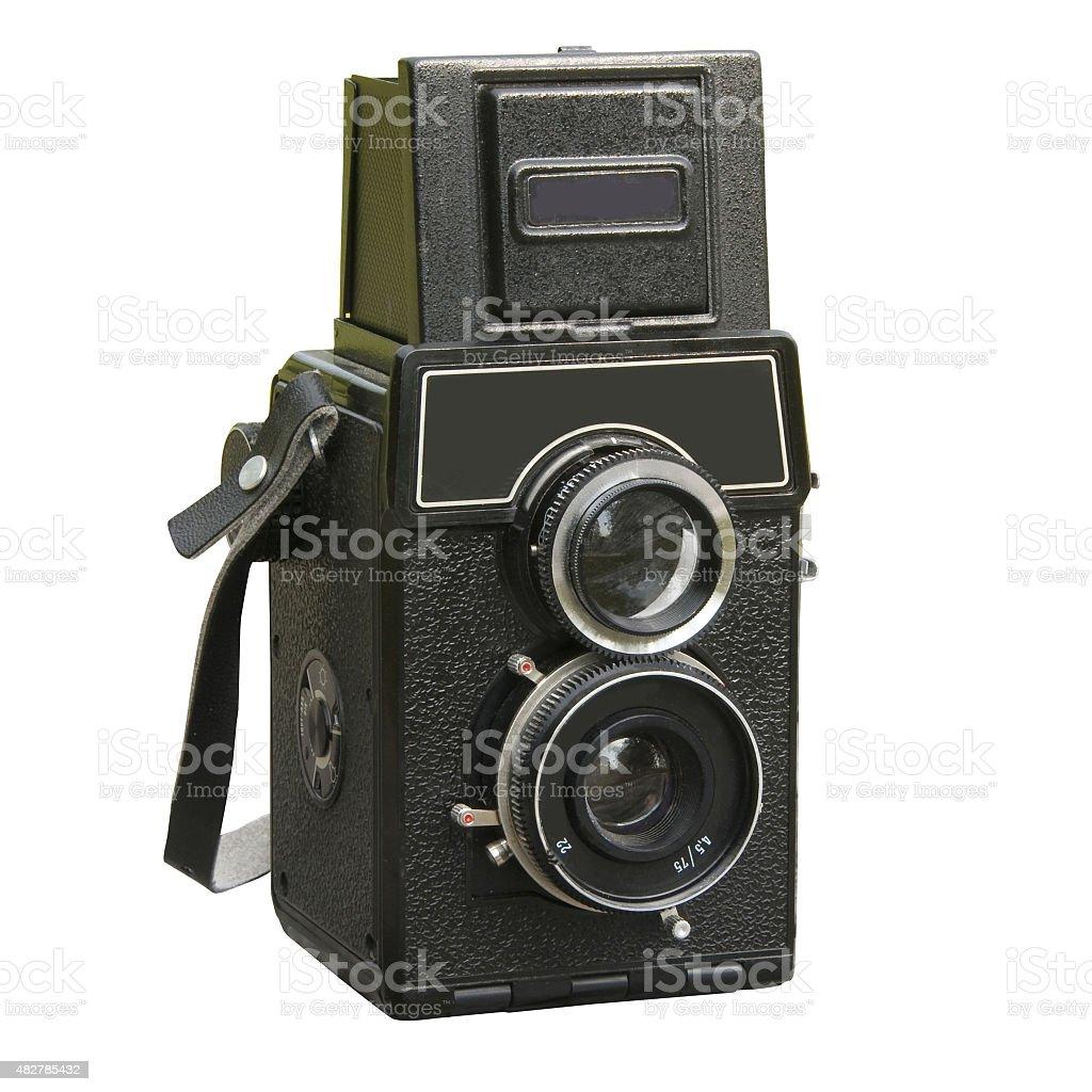 Two lens photo camera stock photo