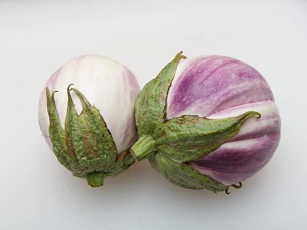 Two light eggplants stock photo