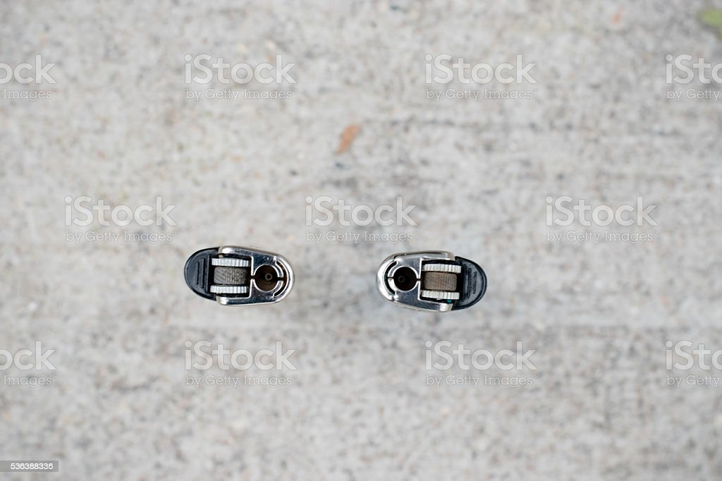 two lighters top view stock photo