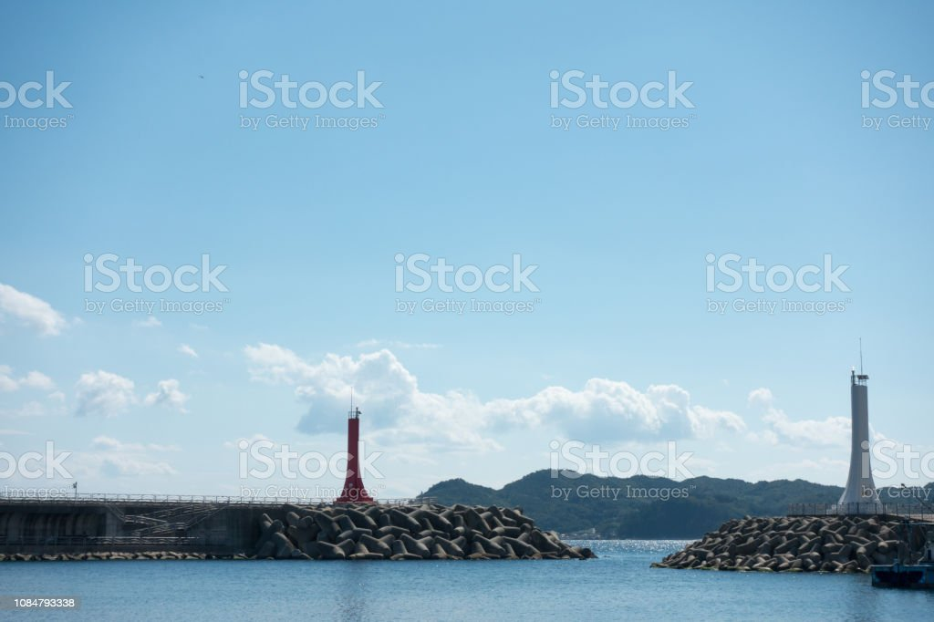 Two lighthouses stock photo